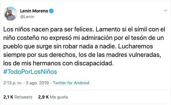Disculpas de Lenín Moreno