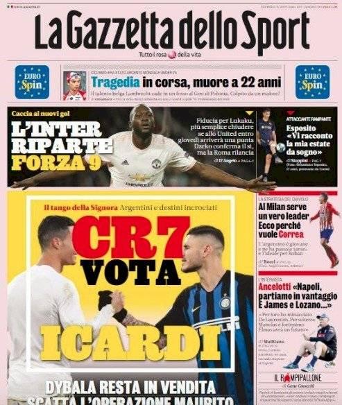 Portada Gazzetta dello Sport martes 6 de agosto 2019
