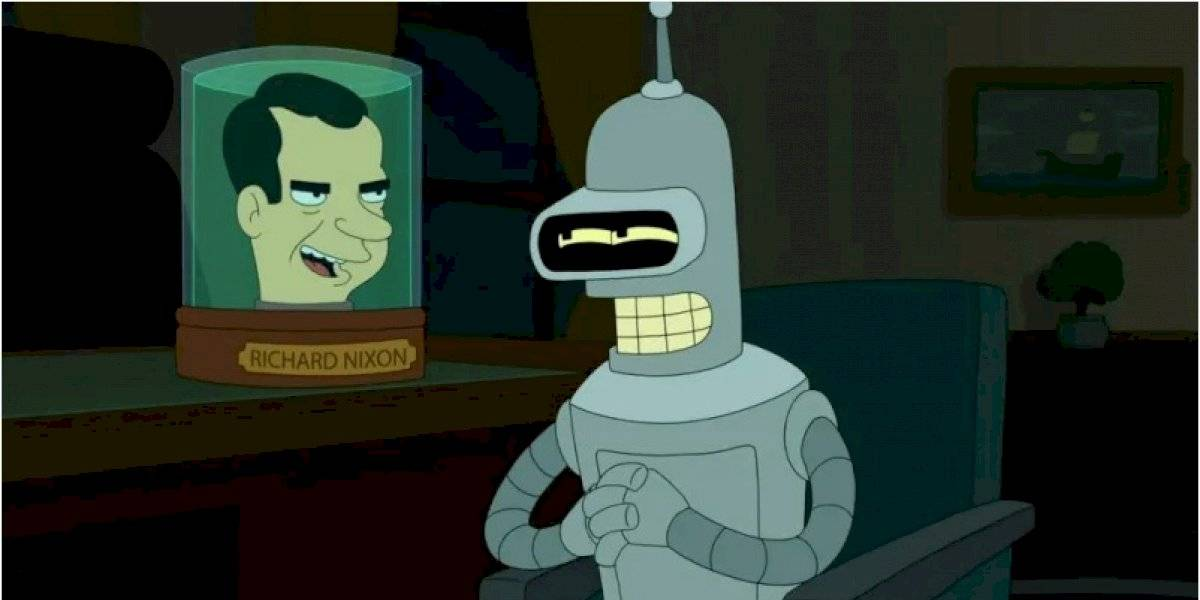 A 45 años de la renuncia a la presidencia de EEUU de Richard Nixon ahora es más conocido por salir dentro de un frasco en Futurama