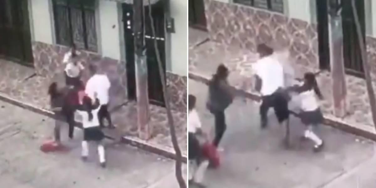 (VIDEO) Hombre propina fuerte golpiza a su expareja y sus tres hijas
