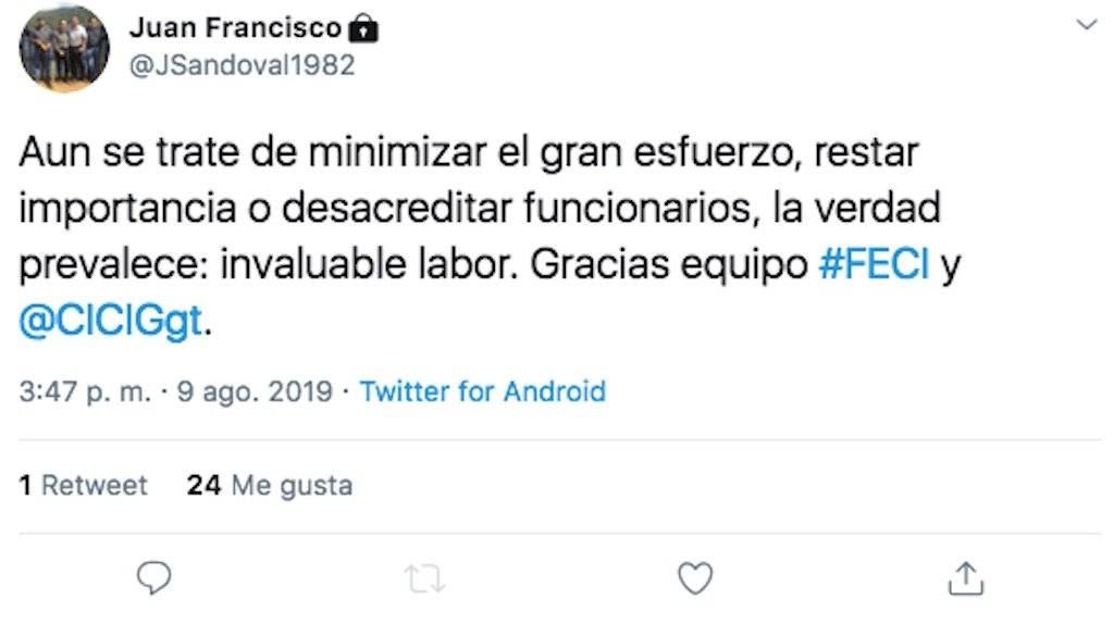 Tweet del jefe de la FECI, Juan Francisco Sandoval. Foto: Twitter
