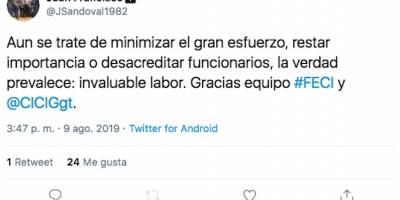 Tweet del jefe de la FECI, Juan Francisco Sandoval.