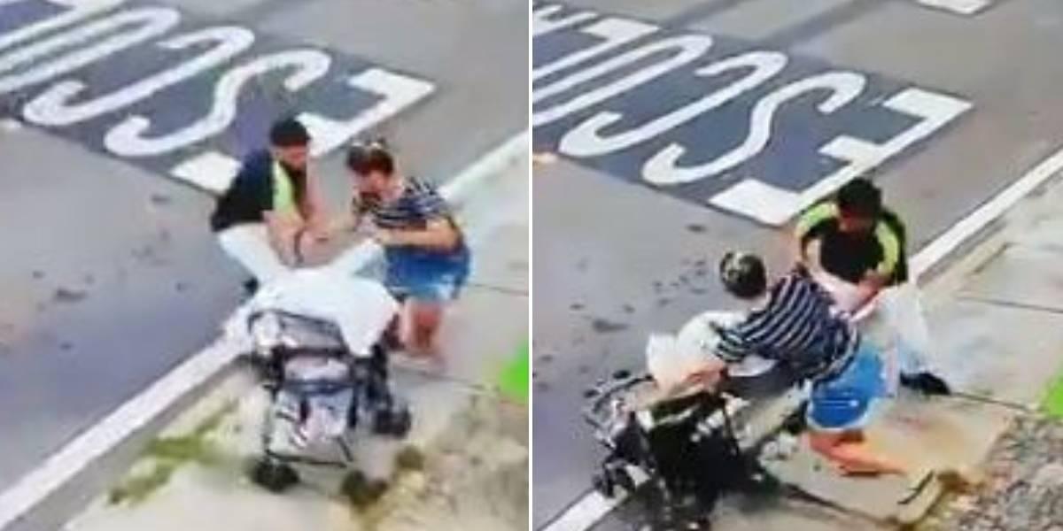 (VIDEO) Ladrón atacó a mujer que transitaba con su bebé en plena calle