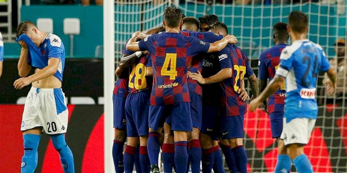 Barcelona golea al Napoli en amistoso de pretemporada con Vidal entrando desde la banca