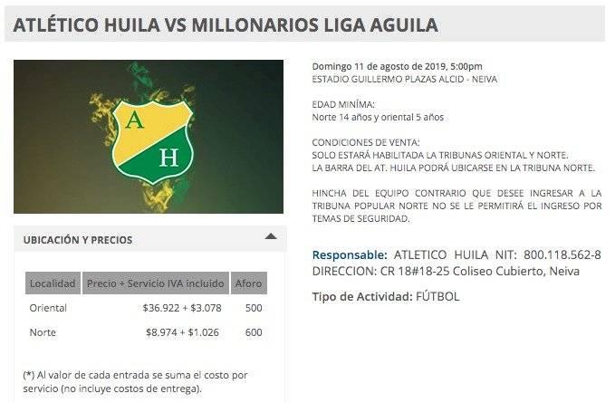 Venta boletería Huila VS Millonarios