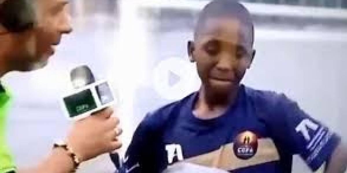 (Video) El emotivo mensaje que niño antioqueño le dedicó a su abuela tras meter un gol