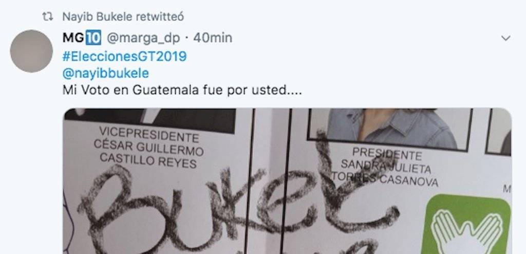 Nayib Bukele compartió el tweet en el cual se indica que se votó por él para presidente de Guatemala. Foto: Twitter