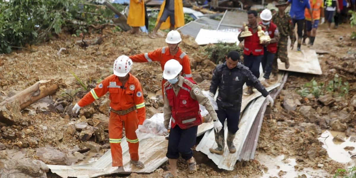 Tragedia en Myanmar: aumentan a 56 los muertos tras alud que sepultó a una docena de casas