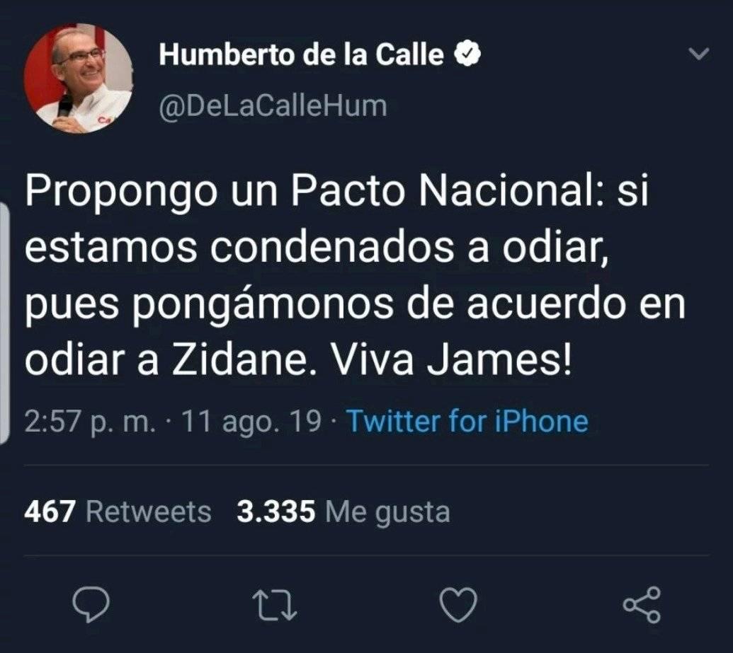 Polémico trino de Humberto de la Calle contra Zinedine Zidane