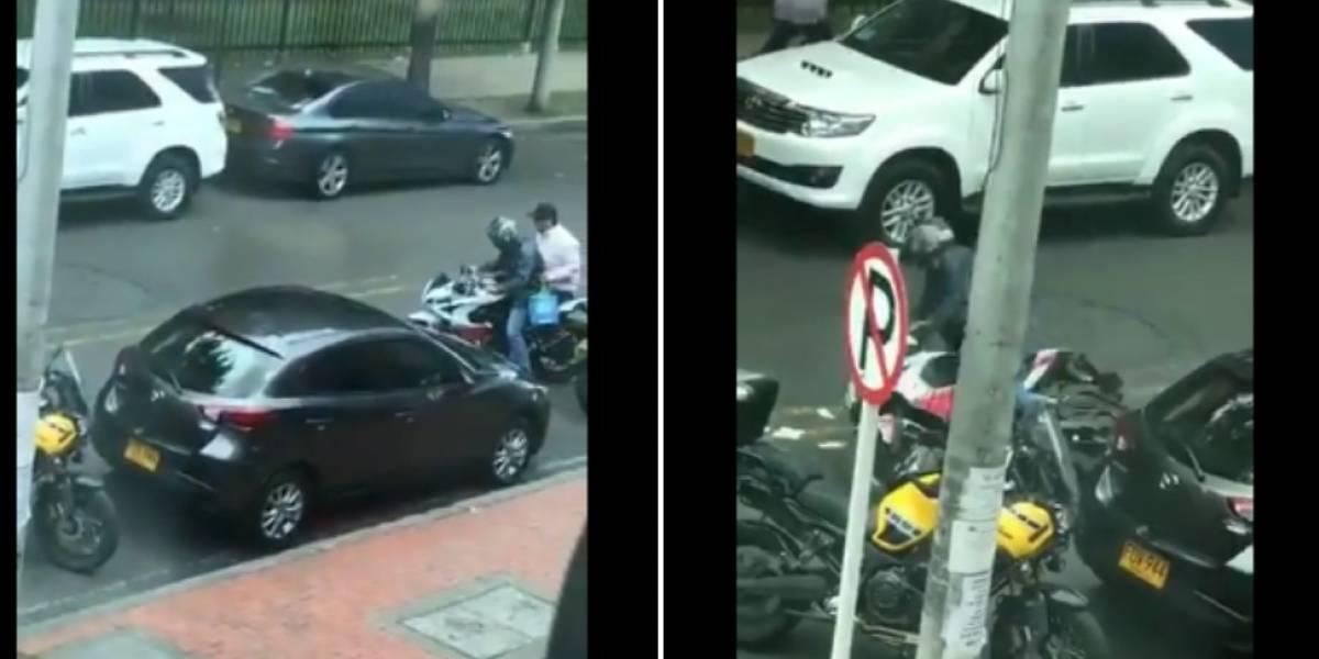 Luego de robar un banco en Bogotá a ladrones se les apaga la moto