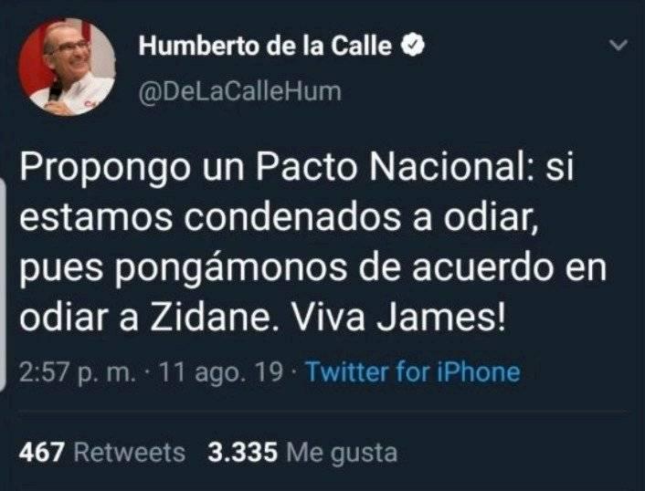 Humberto de la Calle sobre James Rodríguez y Zinedine Zidane