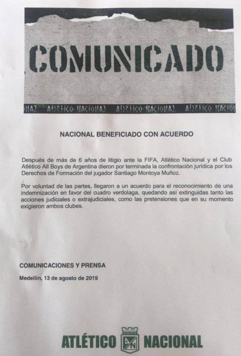 Comunicado oficial demanda de Nacional a All Boys