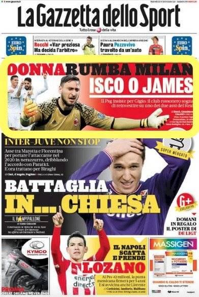 Portada Gazzetta dello Sport martes 13 de agosto de 2019