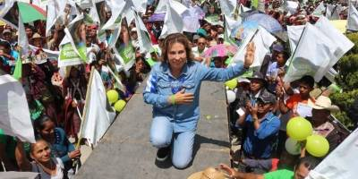 Sandra Torres en campaña en la segunda vuelta