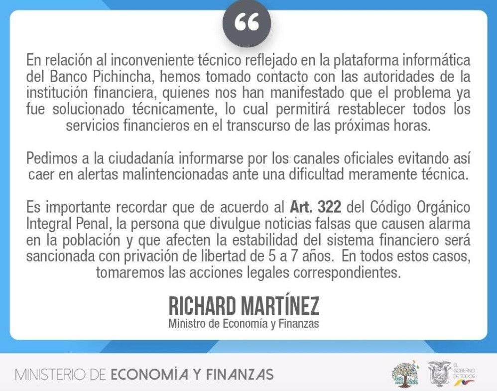 Richard Martínez se pronuncia ante inconveniente informático presentado en Banco Pichincha