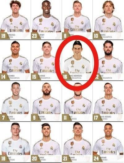 James Rodríguez en la página del Real Madrid