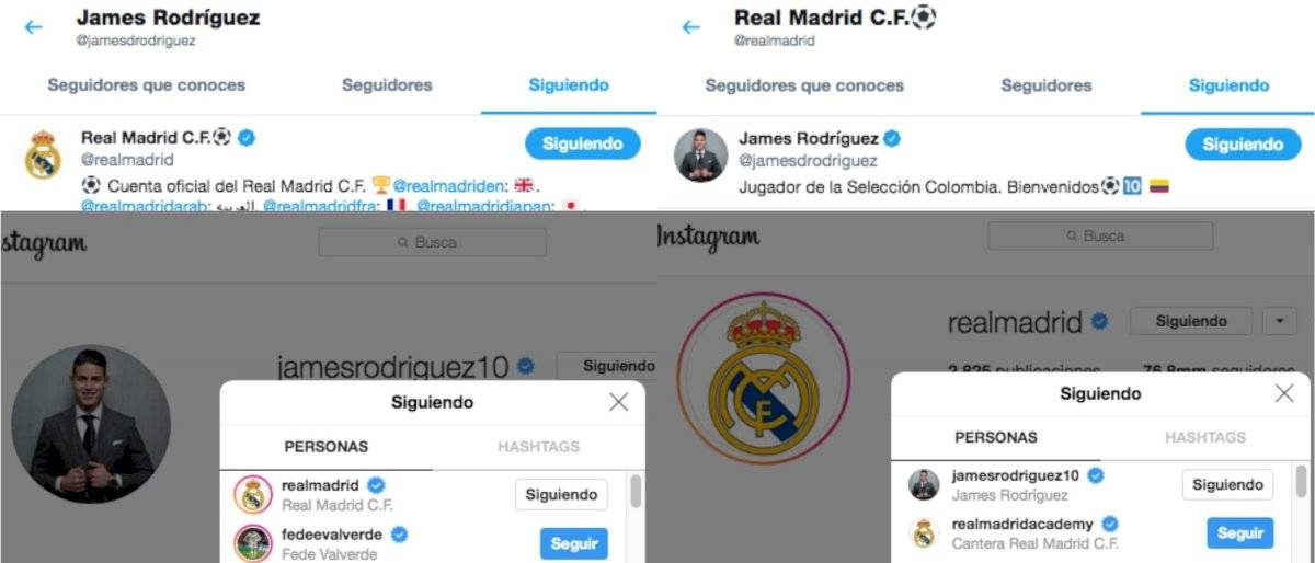 James Rodríguez y Real Madrid en redes sociales