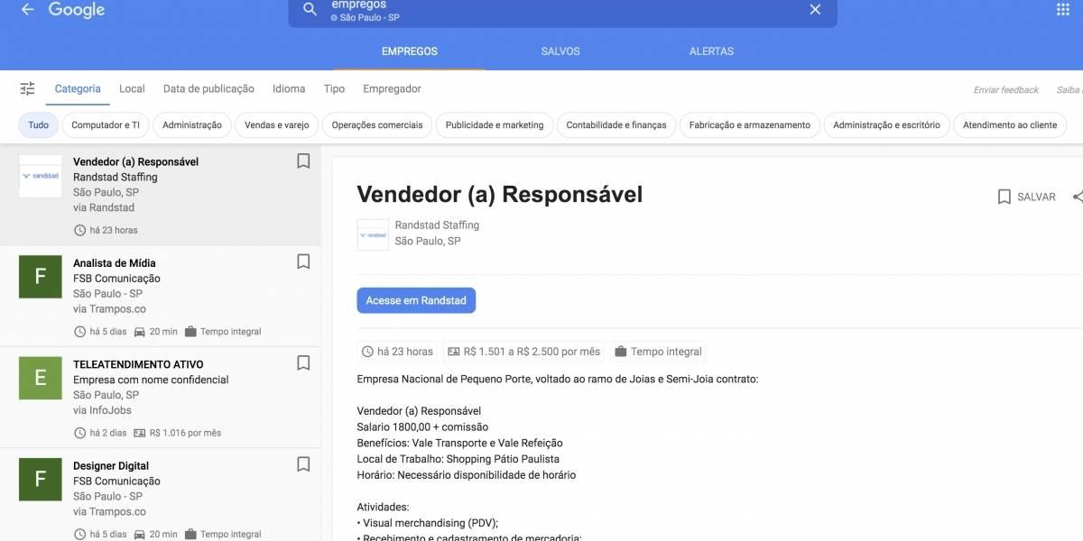 Saiba como encontrar vagas de emprego com o Google