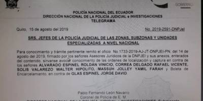 Orden de captura de Rafael Correa