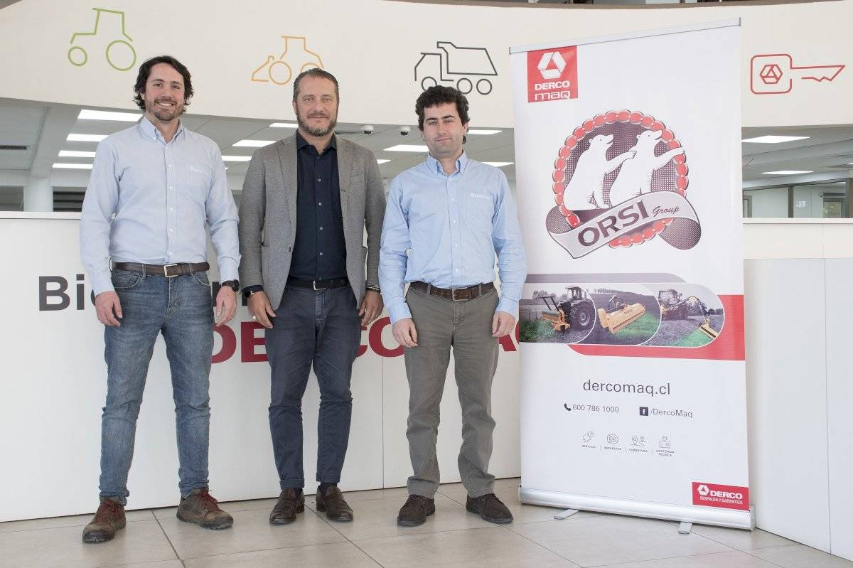 José Pablo Molina, product manager Dercomaq Orsi; Alex Carini, sales manager Orsi América y Jorge Irarrázaval, gerente agrícola Dercomaq.