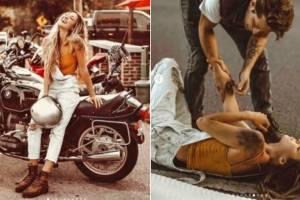 Influencer é acusada de encenar acidente de moto e recebe críticas no Instagram