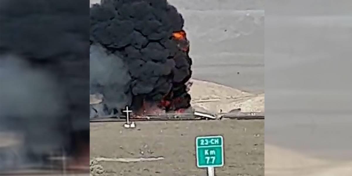 Accidente deja dos personas fallecidas tras choque frontal de camiones