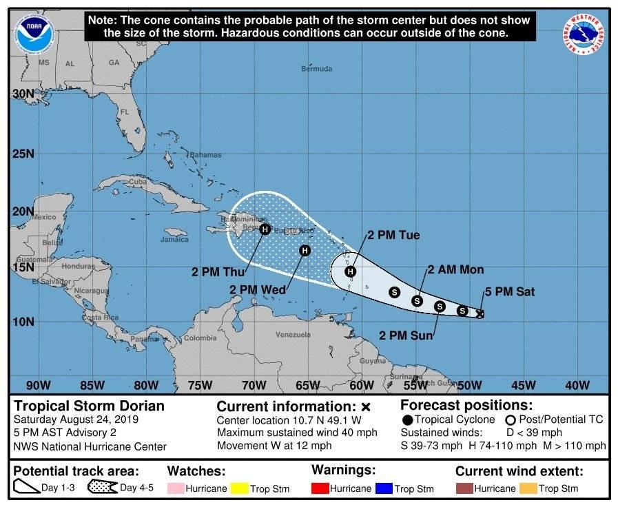 Tormenta tropical Dorian - 24 agosto 2019