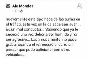 """La usuaria de Facebook """"Ale Morales"""" denunció violencia en el tráfico."""
