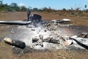 Aeronave destruida en Petén