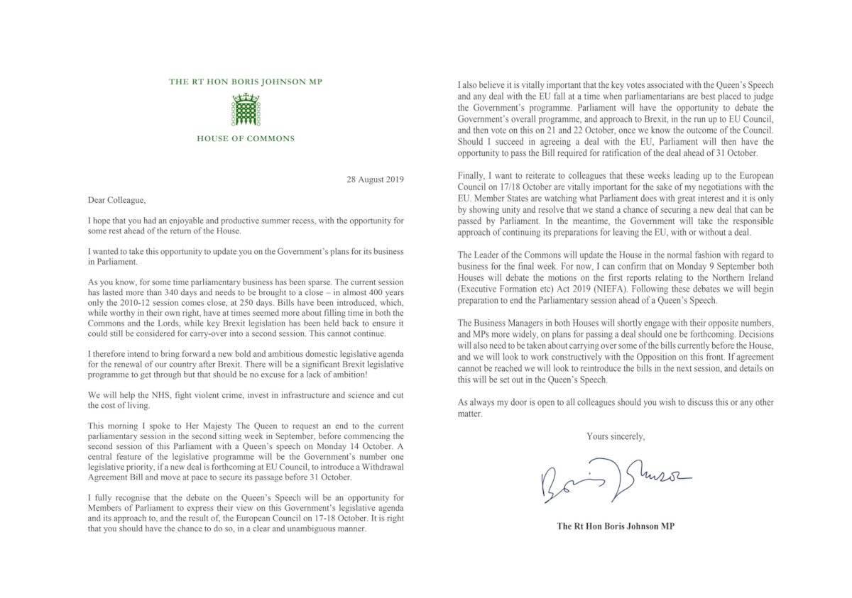 Carta de Boris Johnson al resto de parlamentarios