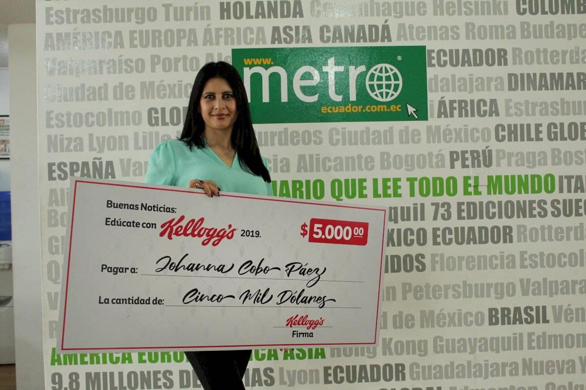 Johanna Cobo, ganó bono de educación sorteado por Kellogg Ecuador
