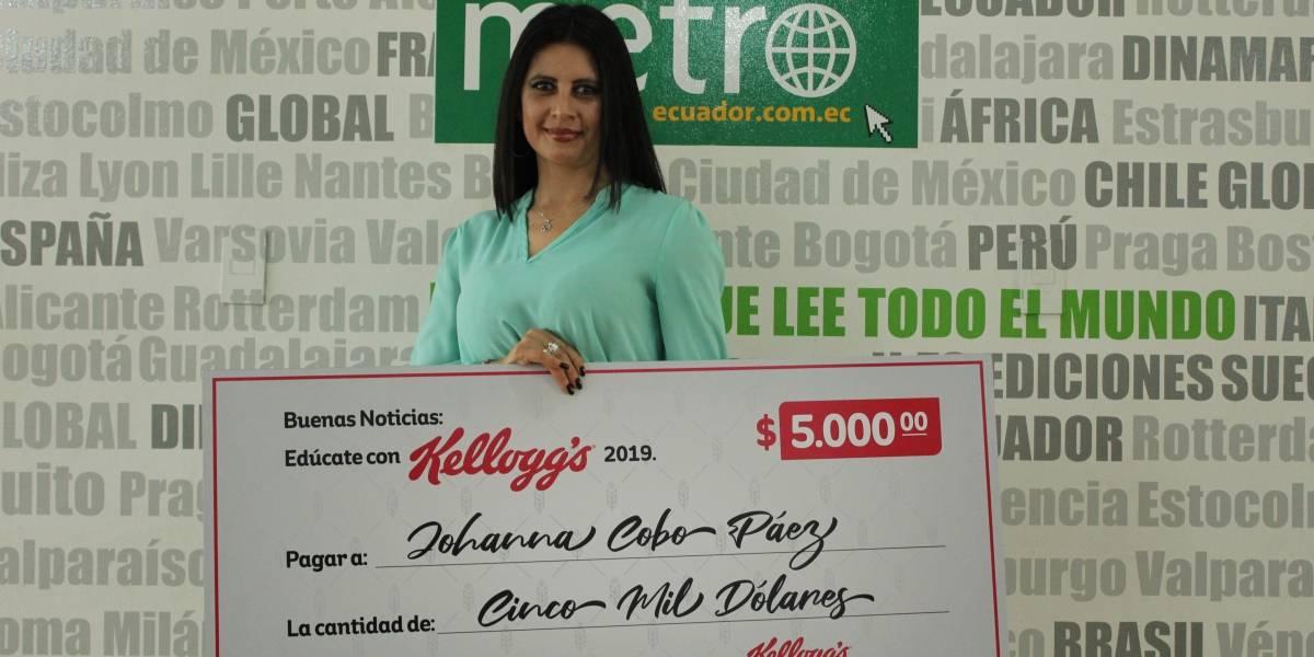 """Johanna Cobo, ganó bono de educación sorteado por Kellogg Ecuador: """"Las cosas pasan cuando uno las sueña"""""""