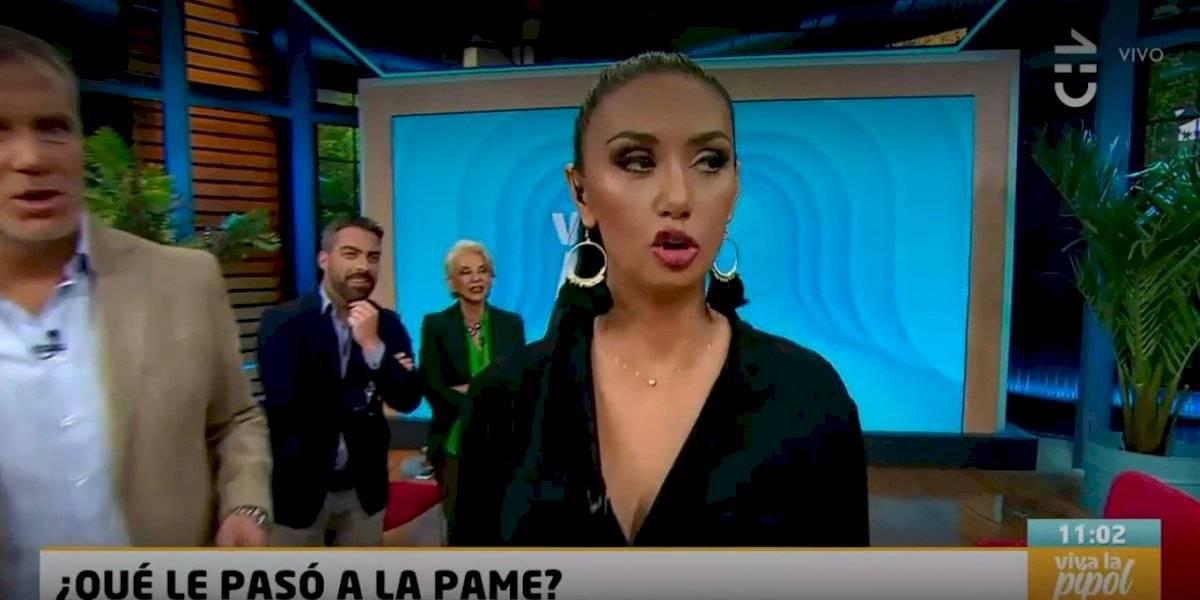 """""""Estoy tiki taka"""": Pamela Díaz apareció en """"Viva la pipol"""" con la boca chueca y debió explicar qué le pasó"""