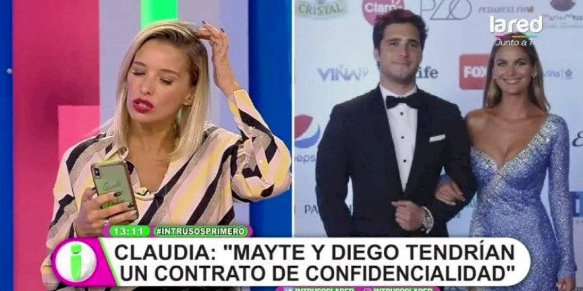 """Claudia Schmidt reveló que la relación entre Mayte Rodríguez y Diego Boneta sería falsa: """"Entre ellos hay un contrato firmado"""""""