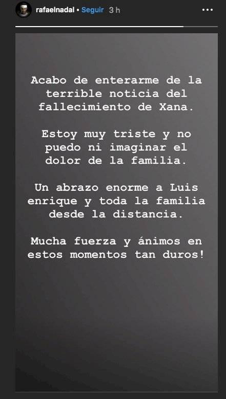 Condolencias de Nadal para Luis Enrique