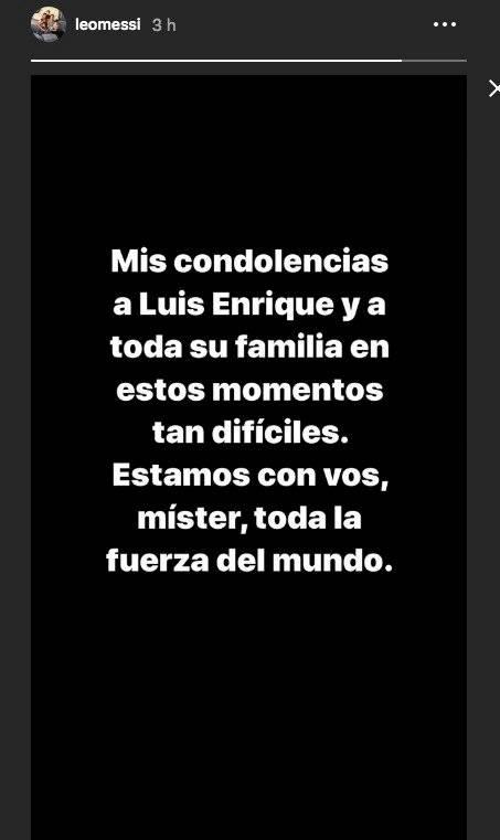 Condolencias de Messi para Luis Enrique