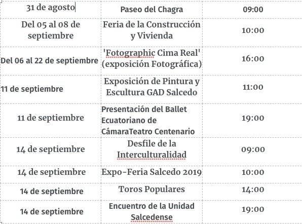 Calendario de Salcedo