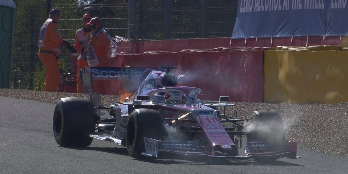 VIDEO: Monoplaza de 'Checo' sufre incendio en prácticas del GP de Bélgica