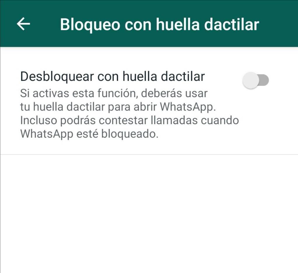 Nueva opción de WhatsApp permite añadir la huela dactilar para ingresar a la aplicación