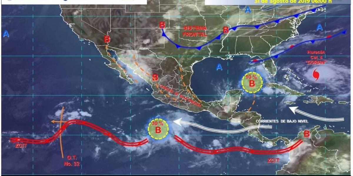 Se esperan lluvias en gran parte de México este 31 de agosto