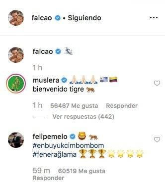 Muslera le dio la bienvenida a Falcao García al Galatasaray