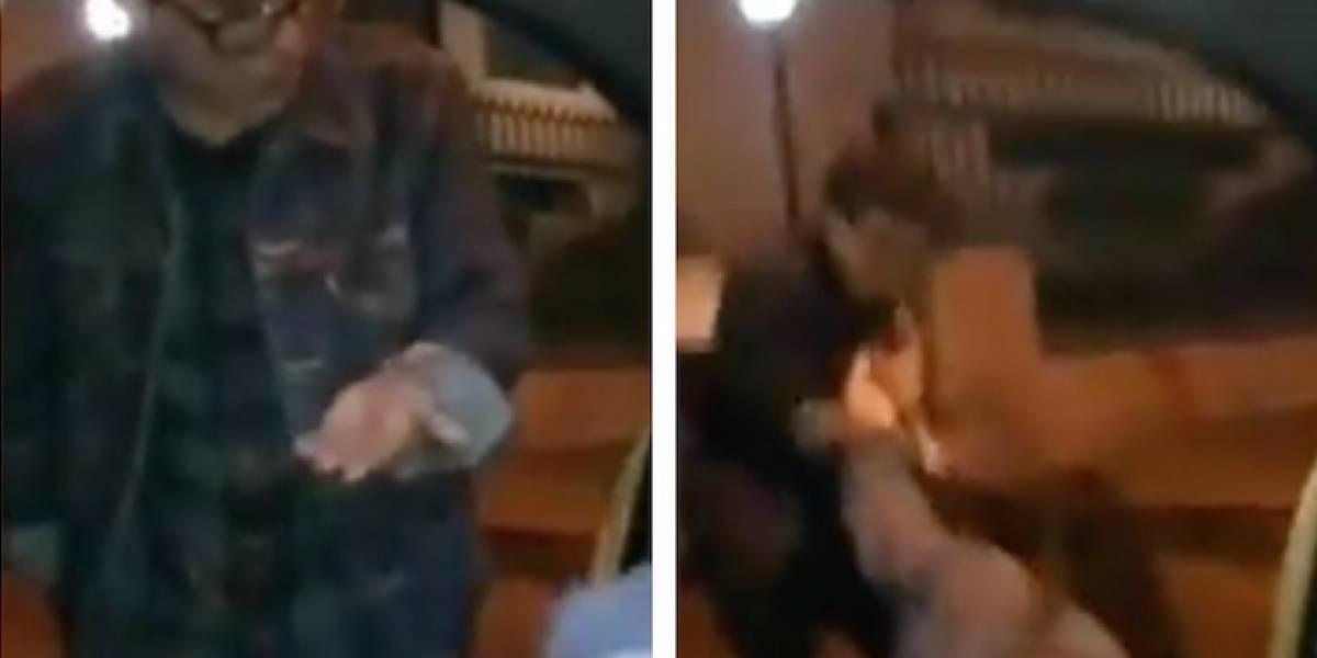 (VIDEO) En Bogotá, joven borracho maltrató a su novia, humilló a un taxista y no le pagó