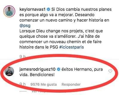 James Rodríguez a Keylor Navas