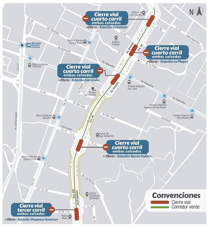 Cierres viajes por Metroplús Línea 2