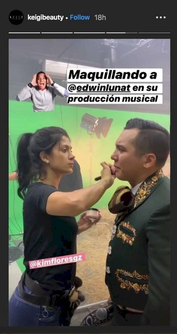 Edwin Luna es maquillado