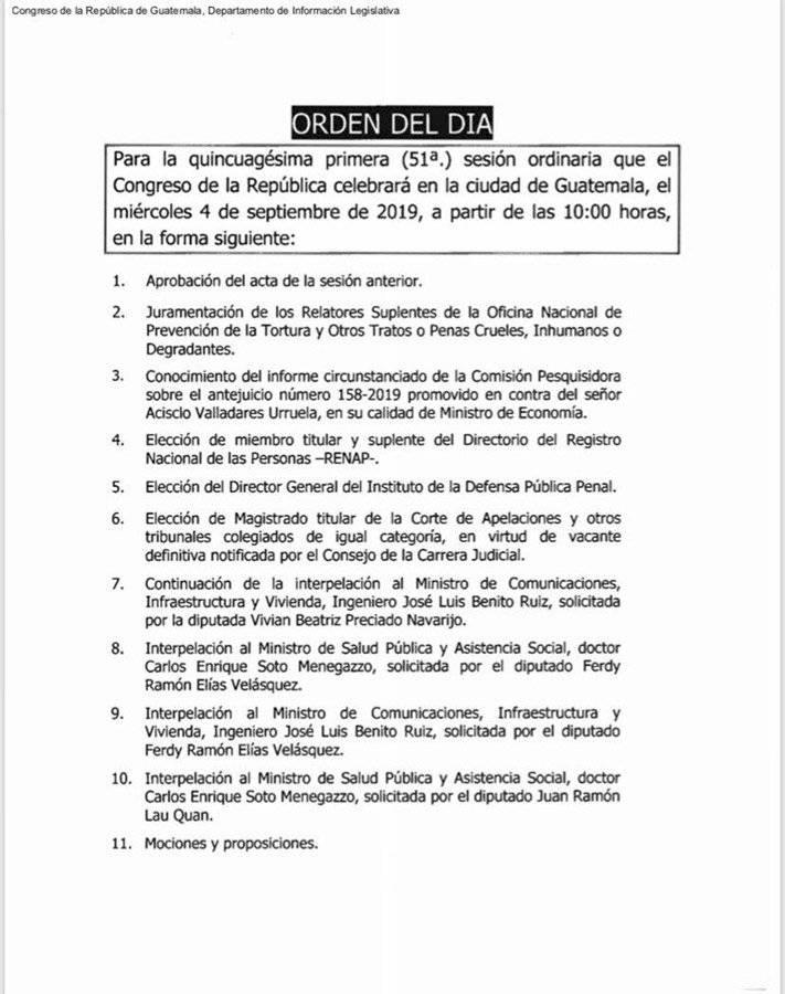 Orden del día de sesión ordinaria en el Congreso del miércoles 4 de septiembre