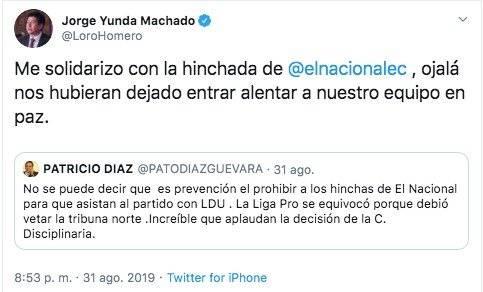 Tuit Jorge Yunda