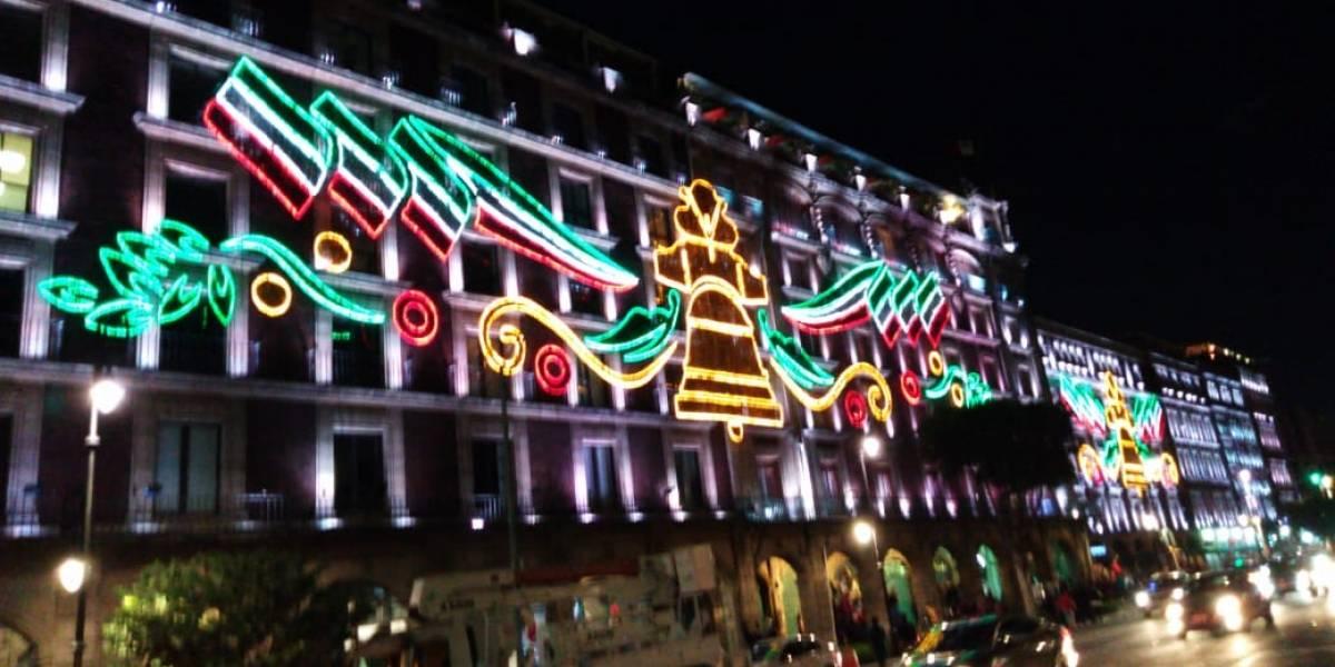 Se encienden luces patrias en el Zócalo capitalino