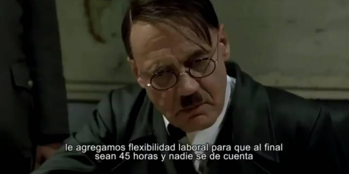 """La guerra de las 40 horas llega a los memes: con célebre escena de """"La Caída"""" se burlan del oficialismo"""
