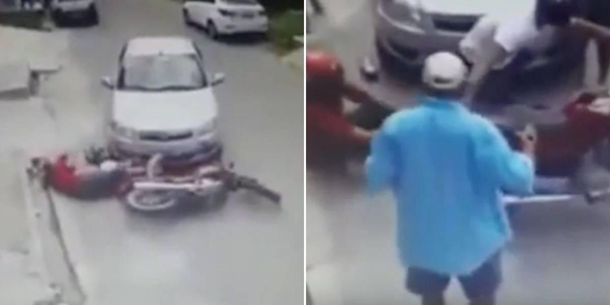 (VIDEO) Hombre intentó ayudar a motociclista accidentado y terminó quemándose